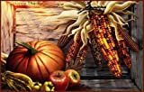 Pumpkin, Fruit & Corn with Thanksgiving Wishes - Vinyl Stained Glass Film, Static Cling Window Decal