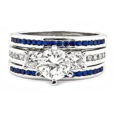 buy Lakoda 3Sa: 1.5Ct Iof Cz And Simulated Sapphire 3 Pc Wedding Ring Set 925 Silver, 3069-3156A Sz 10.0