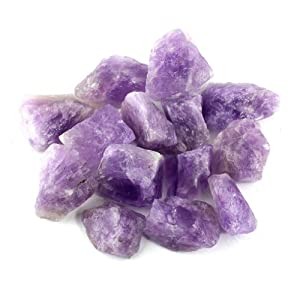 "Crystal Allies Materials: 1lb Bulk Rough Amethyst Quartz Stones - Large 1"" Raw Natural Crystals for Cabbing, Cutting, Lapidary, Tumbling, and Polishing & Reiki Crystal Healing *Wholesale Lot*"