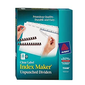 Avery index maker unpunched clear label for Avery 8 tab clear label dividers template