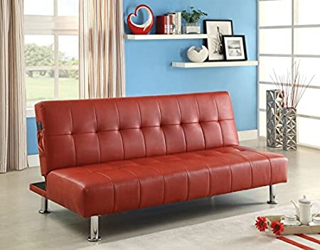 Bulle collection red leatherette upholstered tufted top futon folding sofa bed with side pockets and chrome legs