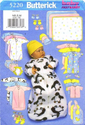 Infants Bunting Jumpsuit Shirt Diaper Cover Hat Bib Mittens Booties Blanket Butterick 5220 Sewing Pattern Newborn - Small - Medium