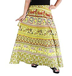 Aura Life Style Women Printed Cotton Long Wrap Around Skirt (ALSK5031W, Green, Free Size)