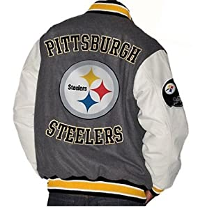 NFL Pittsburgh STEELERS Team Leather-Like Jacket ~ LARGE by G 111