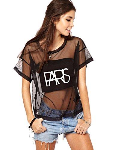 Yacun Girl'S Punk Style See-Through Gauze T-Shirt