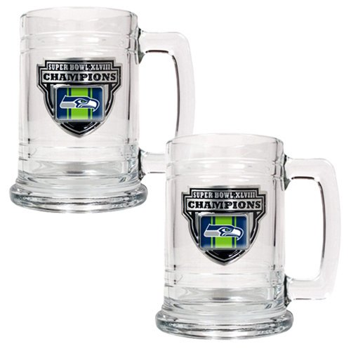NFL Seattle Seahawks Super Bowl Champ Tankard Set (2-Piece), 15-Ounce at Amazon.com