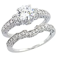 14K White Gold Rhodium Plated Sterling Silver Wedding & Engagement Ring Vintage Style 2Pc Engagement Ring Set For Women 6MM ( Size 6 to 9) from Double Accent