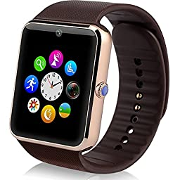 StarryBay Smart Watch Bluetooth Sweat Proof Wrist Watch with Touch Screen for Notification Push /Handsfree Call for Android / limited function for iPhone- Brown