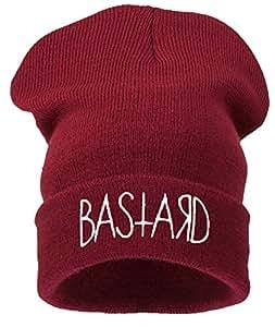 4sold - Bonnet -  Homme noir Noir Taille universelle -  Noir - BASTARD dark red white - Taille unique