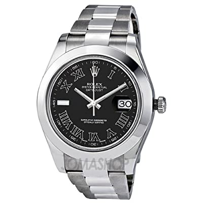 Rolex Datejust II Black Dial Stainless Steel Oyster Mens Watch 116300BKRO from Rolex