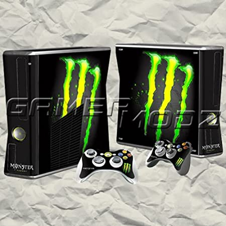 Monster XBOX 360 Slim Skin Set - Console with 2 Controllers
