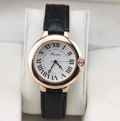 High Quality Leather Strap Women Watches Quartz Nice Dress Watch (Black)