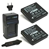 Wasabi Power Battery (2-Pack) And Charger For Panasonic Lumix DMW-BCF10 DMW-BCF10E DMW-BCF10PP CGA-S/106B DMC-F2...