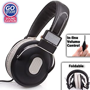 GOgroove SoundCLUTCH Over-Ear Headphones with Integrated Volume Control