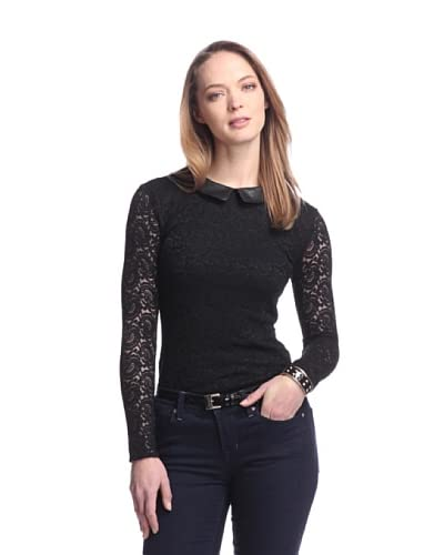 W118 by Walter Baker Women's Piper Lace Top with Faux Leather Collar  [Black]