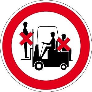 Verbotsschild aus Kunststoff - Mitfahren auf dem Gabelstapler verboten - Ø 10 cm