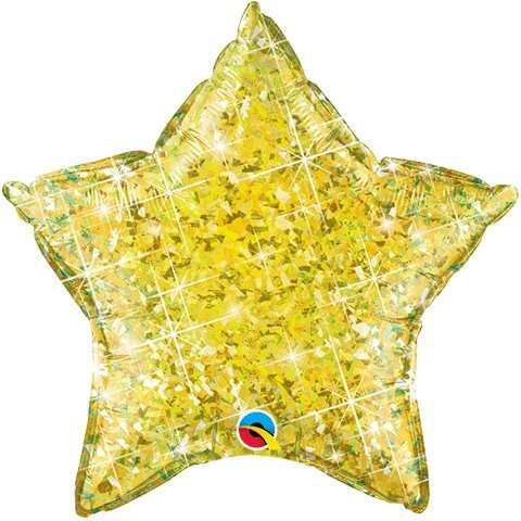 "Yellow Holographic Star Shaped 20"" Mylar Foil Balloon"