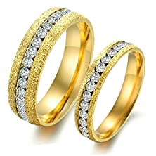buy Mens Womens Stainless Steel Channel Set Round Cz Sandblast Finish Couple Engagement Wedding Golden Ring