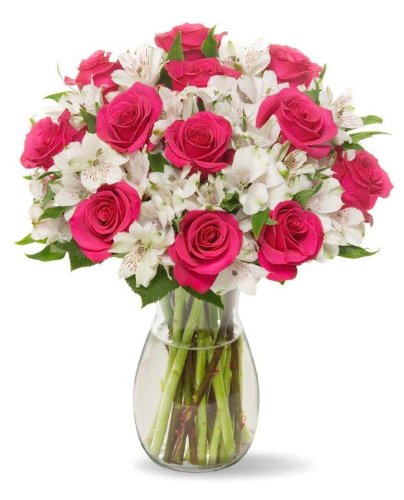 Roses and Alstroemeria, With Vase