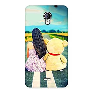 Gorgeous Girl Teddy Multicolor Back Case Cover for Micromax Unite 2 A106