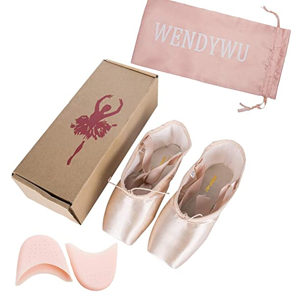 161d77b28fb7 WENDYWU Professional Ballet Slipper Dance Shoe Pink Ballet Pointe Shoes  with Toe Pad Protector for Girls ...