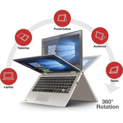 2016 Newest Toshiba Satellite Radius 2-in-1 11.6 inch HD Touch-Screen Convertible Laptop ( Intel Quad-Core Pentium N3700, 4GB, 500GB, No DVD, Bluetooth, Webcam, WiFi, HDMI, Windows 10 ) – Satin Gold