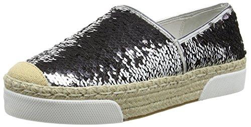CAFèNOIREM - Pantofole non imbottite Donna , Multicolore (Mehrfarbig (022  ARGENTO-NERO)), 37