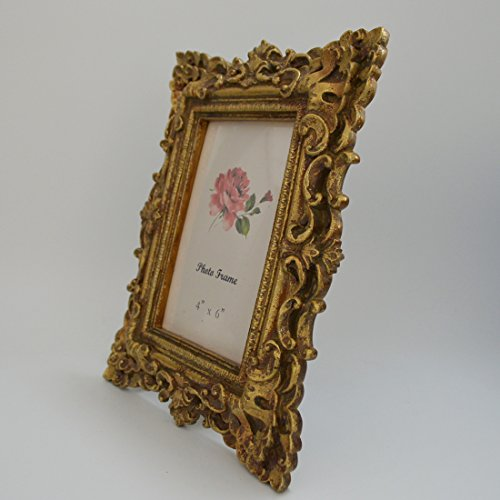 Gift Garden Friends Gift Gold Vintage Picture Frame 4 by 6 -Inch in hand Painted for Photo Display 4x6 6