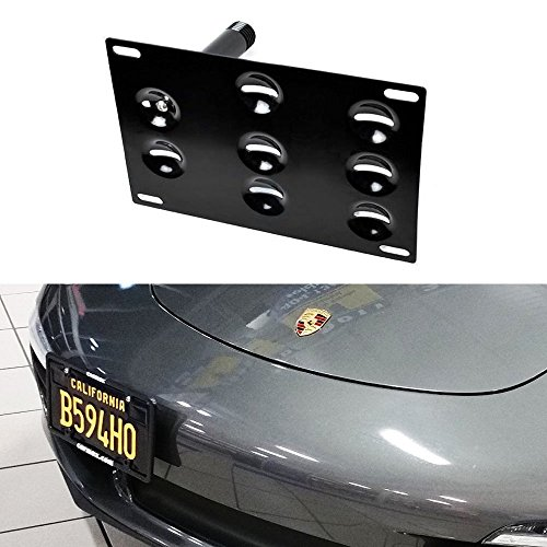 iJDMTOY No-Drill Front Bumper Tow Hole Adapter License Plate Mounting Bracket For Porsche 911 924 Boxster, etc