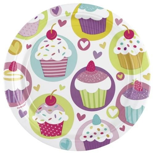 Amscan - 997209 - 8 Assiettes Cupcake Diamètre - 23 cm