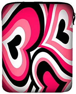 MyGift 8 - 10 inch Fuchsia Pink Funky Retro Hearts Illustration Netbook Laptop Sleeve Slip Case Pouch Bag by MyGift