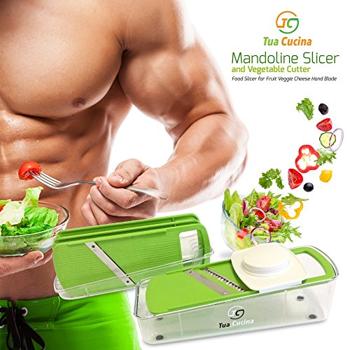 Mandoline Slicer and Vegetable Cutter Best Julienne Food Slicer with Guard for Cooking , Fruit , Veggie , Cheese , Finger Foods , Thin Potato , Safe Hand Steel Blade with Guard (1second Slicer Chopper compare prices)
