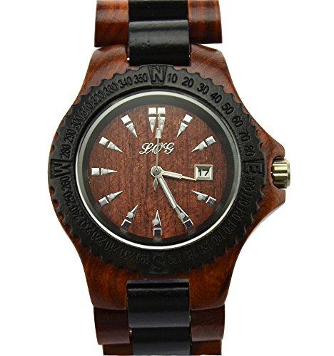 Ideashop� High Quality Handmade Brown And Black Natural Sandalwood Wood Watches Date Calendar Sandal Wood Quartz Watch Wooden Wristwatch Japan Movt Men's Watches Gift Giving Watch