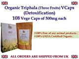 Organic Triphala Capsules (Three Fruits) Detoxification Detox Emblica officinalis Terminalia chebula Terminalia belerica 100% USDA Certified Organic ((108 V Caps 500mg)