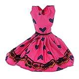 【ノーブランド 品】バービー 人形 ファッション かわいい ノースリーブ ハートパタン ドレス 贈り物