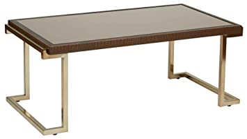 Isabella Coffee Table with Bronze Glass Top and Champagne Metal Frame