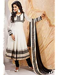 Utsav Fashion Women's Off White Faux Georgette Anarkali Readymade Churidar Kameez-XX-Small