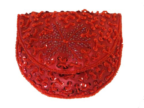 Red Hat Ladies Beaded Sequin Coin Purse Red