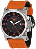 Swiss Legend Mens 40030-01-OAS Sportiva Black Textured Dial Orange Silicone Watch