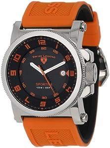 Swiss Legend Men's 40030-01-OAS Sportiva Black Textured Dial Orange Silicone Watch