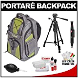 Portare' Multi-Use Laptop/iPad/Digital SLR Camera Backpack Case (Gray/Green) with 57 Photo/Video Tripod + Cleaning Kit for Canon EOS 7D, 5D Mark II III, 60D, Rebel T3, T3i, T2i Digital SLR Cameras