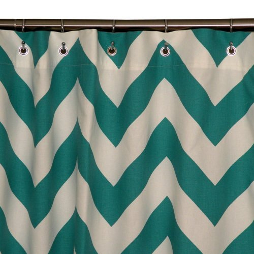Elisabeth Michael Turquoise Chevron Shower Curtain