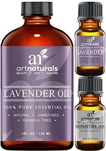 Art Naturals® Lavender Essential Oil 4 oz 3pc Set - Includes Our Aromatherapy Signature Zen Blend 10ml + Travel Size Lavender Oil 10ml - Therapeutic Grade 100% Pure & Natural From Bulgaria (4 oz) (Natural Organic Grapeseed Extract compare prices)
