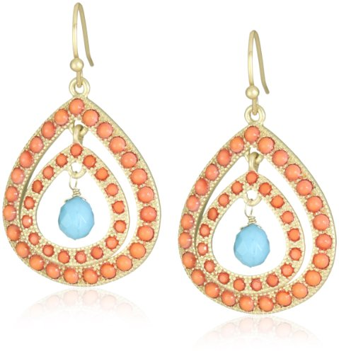 Flying Lizard Designs Orange, Turquoise Triple Teardrop Earrings