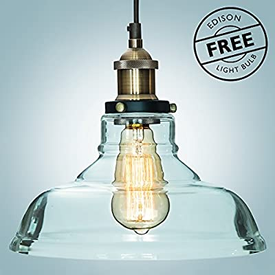 "Glass Pendant Light ""The Loft"" with Vintage Edison Light Bulb ($7 value) - Gorgeous Vintage Light Fixture, Single Bulb Chandelier Lighting - Industrial Design, Clear Glass Pendant by Comfify"