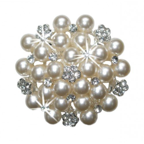 Pearl Silver Round Bouquet Vintage Fashion Brooch Pin Badge Crystal Diamante Bling Special Occasion