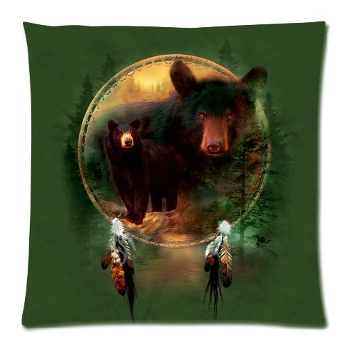 """Dream Catcher Grizzly Bear North American Brown Bear Custom Zippered Pillow Cushion Case Throw Pillow Covers 20""""X20""""(Two Sides) front-846984"""