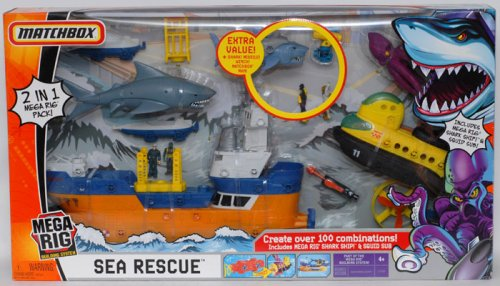 Buy MATCHBOX Mega Rig Building Set – SEA RESCUE. EXTRA VALUE! + Shark! Missile! Winch! Matchbox Man!