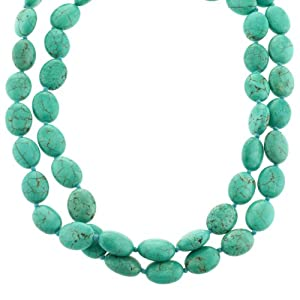 Sterling Silver Turquoise Double Strand Necklace with Toggle Closure,17.5