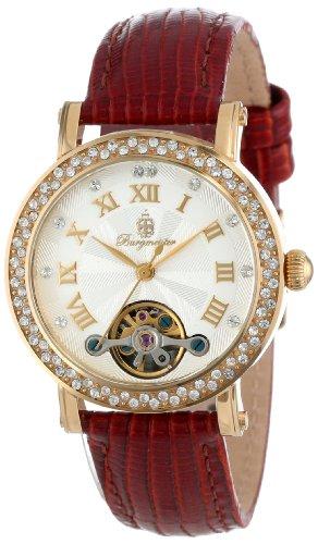 Burgmeister BM516-215 - Reloj analógico de mujer automático con correa de piel marrón - sumergible a 30 metros